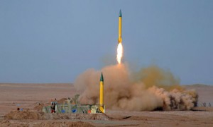 The medium range missile Shahab-1 is test-fired by Iran's Revolutionary Guards in the Lut desert