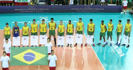 Brazil team during the national anthem