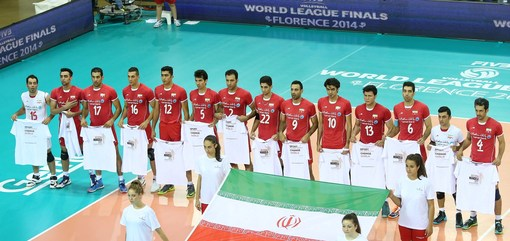 Iran team during the national anthem