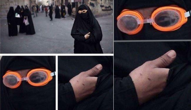 نیروهای آل خلیفه در پوشش زنانه + عکس