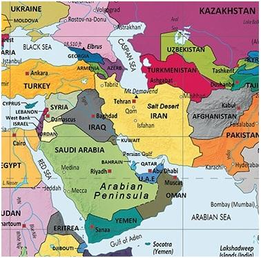 نقشه کشورهای حوزه جنوب غرب آسیا