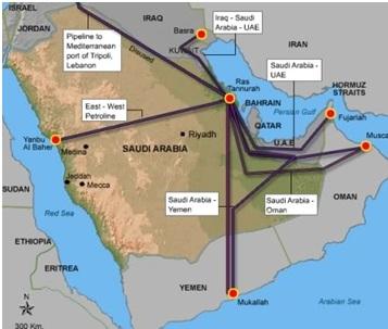 نقشه خطوط لوله نفت در عربستان