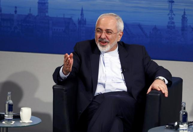 Iran's foreign minister Zarif gestures during an open debate at the 51st Munich Security Conference in Munich