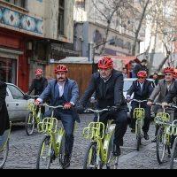 دوچرخه سواری شهرداران کلانشهرها تا دفتر جهانگیری+ تصاویر