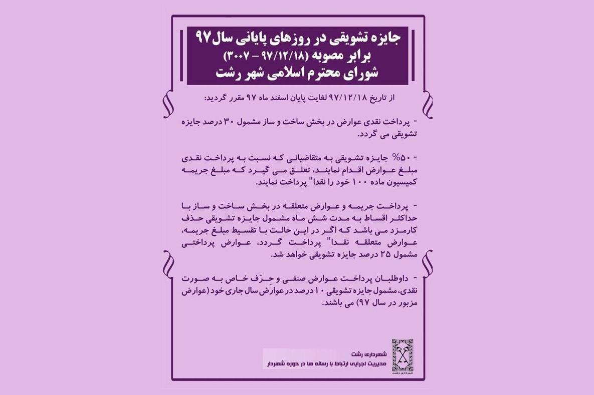 جایزه تشویقی به شهروندان رشتی در روزهای پایانی سال ۹۷
