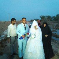 مراسم ازدواج زوج خوزستانی روی سیل+ عکس